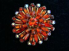 Vintage JULIANA ? AB Red Orange Elongated Marquis Navette Rhinestone Brooch Pin