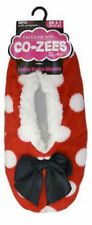 Ladies Girls Co-zees Luxury Spot Sherpa Gripper Sole Warm Lined SLIPPER Socks Red