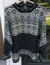 Vintage Crl Ralph Lauren Lambswool Sweater Navy Blue White sz L Handframe Euc *