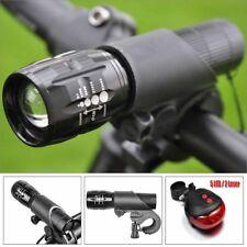 Bicycle LED Flashlight Headlight & Rear Tail Light Bike Torch Lamp Mount Holder