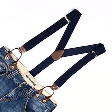 Mens Adjustable Button Holes Suspenders Solid Womens Braces Navy Blue BD707