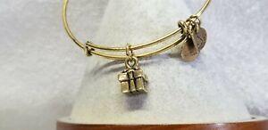 Alex And Ani  Gold Gift Box  / Present 🎁 Charm  expandable Bangle Bracelet ❄🎃