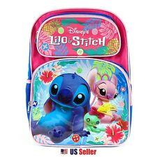 """Disney Lilo and Stitch School Backpack 16"""" : Stitch and Angel (Pink)"""