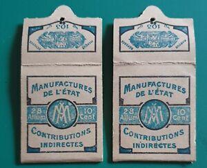 Lot 2 Boite pochette d'allumettes Manufacture de l'Etat 10 centimes 103
