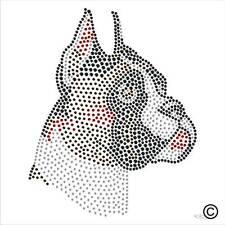 Pegamento Diamante Adorno Boxer Perro Canino Rhinestone transferencia Hierro En Gema De Cristal