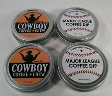 2 Cowboy & 2 MLB Chewing Dipping Tobacco ENERGY Snuff Alternative Rodeo Baseball