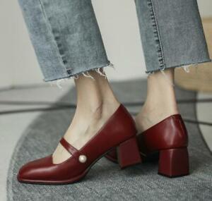 Women Retro Thick Heel Mary Jane Shoes High Heel Square Toe Shoes Fashion Pumps