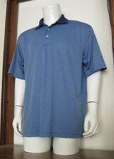 XL Men PGA Tour Golf Polo Shirt Blue Diamond Geo 100% Polyester EUC