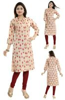 Women Indian Printed Top Cotton Kurti Tunic 3/4 Sleeves Kurta Shirt Dress  NK20