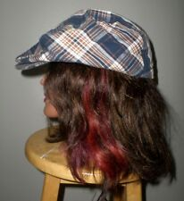 BROWN & WHITE offbeat plaid vtg newsboy hat country Gatsby 1980s mod cabbie