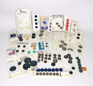 Vintage Lot 1950s & 1960s Plastic Buttons On Original Cards Never Used 48 cards