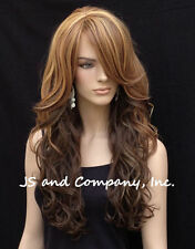 LATEST STYLE HEAT SAFE WAVY Long Brown Blonde Mix SKIN TOP WIG WBCA 8-12DS