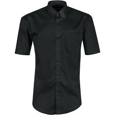 New Mens Short Sleeve Shirt Button Up Business Work Smart Formal Plain Dress Top