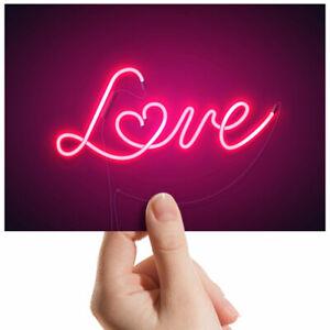 "Neon Sign Love Pink Heart Small Photograph 6"" x 4"" Art Print Photo Gift #2806"