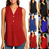 Women Summer V-neck Button Sleeveless Shirt Casual Chiffon Tank Tunic Top Blouse
