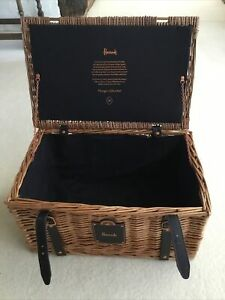 Harrods Lined Hamper Basket, Perfect Condition