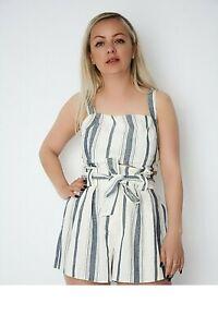 New Women Ex Nobodys Child White+Blue Stripe High Waist Belted Shorts Size 6