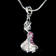 w Swarovski Crystal ~Hot Pink Hula Belly Dance~ Ballroom Dancer Necklace Jewelry