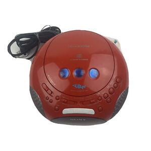 SONY PSYC Red Dream Machine Alarm Clock CD Radio ICF-CD831 Tested & Works