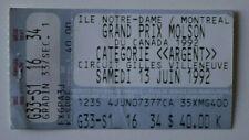 Formula 1 Grand Prix Molson Canada 1992 Official ticket - Quebec