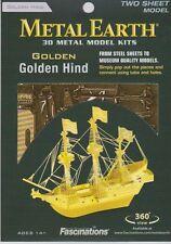 Metal Earth 3D Laser Cut Steel Model Kit Golden Hind Ship (Gold Color Ver)