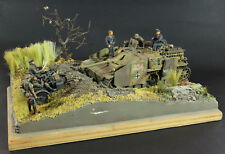 BUILT Diorama: Stug and BMW R75 Motorcycle w Sidecar 1/35 scale + 6 figures