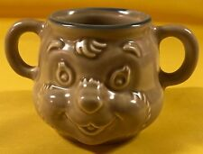"Pfaltzzgraff Folk Art  2- Handle Teddy Bear Cup Brown Blue Rim Child's 3"" T"