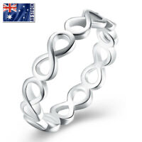 925 Sterling Silver Filled Infinity Plain Band Wedding Engagement Ring Size 6-9