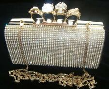 New Knuckle Gold Diamante Crystal Evening bag Clutch Purse Party Prom Christmas