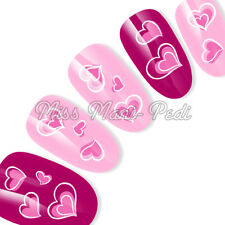 Nail Art Water Transfers Decals Stickers Pink & White Love Hearts Valentine K063