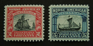 1925, US Scott 620-621 Norse-American issue MNH