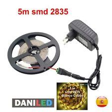 Tira Led 5M 300 led SMD 2835 BLANCO CALIDO INTERIOR + ADAPTADOR 12V 2A +CONECTOR