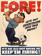 """Fore!"" 1942 Vintage Style Golf World War 2 Poster - 18x24"