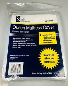 NEW Queen Mattress Cover Protector Waterproof Clear Plastic Polyethylene Strong