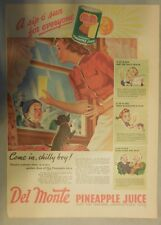 Del Monte Pineapple Juice Ad: Come In Chilly Boy! 1940's 11 x 15 inches