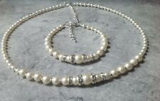 Ivory Glass Pearl Rhinestone Necklace & Bracelet Jewellery Set