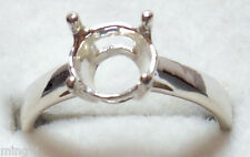 Size 10 PRE-NOTCHED .925 STERLING SILVER 8 mm RING MOUNT R1240