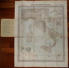 1885-GRANDE CARTA PIEGHEVOLE DELL'ITALIA-GENERAL KARTE VON ITALIEN-88x71