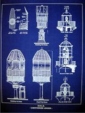 "Vintage LIGHTHOUSE LENSE USLHS Blueprint Plan 18"" x 24"" (226)"