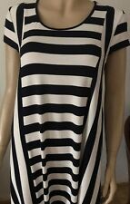 M&S WOMEN Blue & White Striped Cap Sleeved Knee Length Casual Dress Size 14