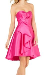 Adrianna Papell Women's A-Line Dress Pink Size 2 Strapless High-Low $189 #264