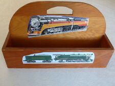 Train Model Railroad Station Advertising Carrier Tote Wooden Handmade