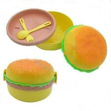 NIP Quality Hamburger Plastic Lunch Box with Fork & Spoon Gift Set Container