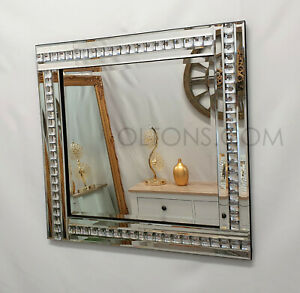 Modern Art Deco Acrylic Crystal Glass Design Bevelled Mirror 60x60cm Silver