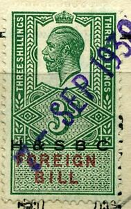 GB Revenue George V, Foreign Bill (H&SBC) Overprint 3/- on paper
