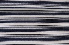 XXL Baumwolle Jersey Stoff dunkelblau weiss gestreift Glitzer Meterware #0179