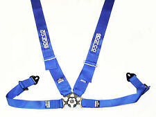 """Sparco Competition 4 Point Snap-In 3"""" Seat Belt Harness with Camlock (Blue) FIA"""