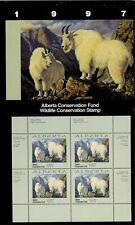 Alberta #2 1997 Rocky Mountain Goat Conservation Stamp Mini Sheet 4 In Folder