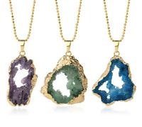 Natural Geode Pendant Druzy Quartz Gold-color Bezel Hollow Irregular Stone Penda