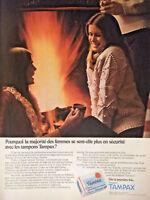 PUBLICITÉ DE PRESSE 1974 AVEC TAMPAX LES FEMMES SE SENT PLUS EN SÉCURITÉ